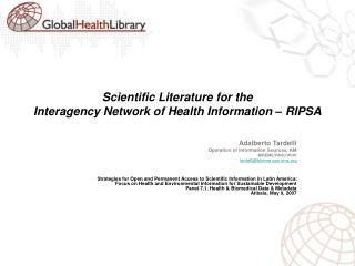 Scientific Literature for the  Interagency Network of Health Information – RIPSA