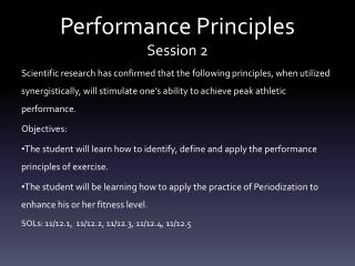 Performance Principles Session 2