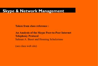 Skype & Network Management