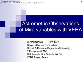 Astrometric Observations  of Mira variables with VERA