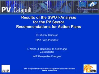 Results of the SWOT-Analysis  for the PV Sector Recommendations for Action Plans