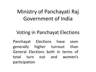 Ministry of Panchayati Raj Government of India Voting in Panchayat Elections