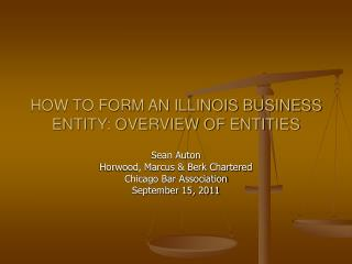 HOW TO FORM AN ILLINOIS BUSINESS ENTITY: OVERVIEW OF ENTITIES