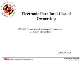Electronic Part Total Cost of Ownership