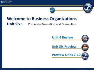 Welcome to Business Organizations Unit Six :