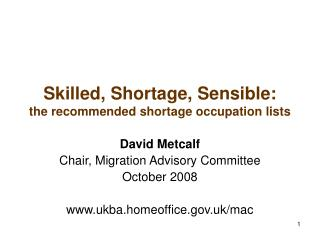 Skilled, Shortage, Sensible: the recommended shortage occupation lists