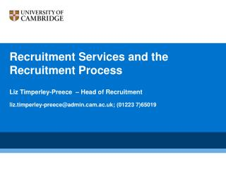 Recruitment Services and the Recruitment Process