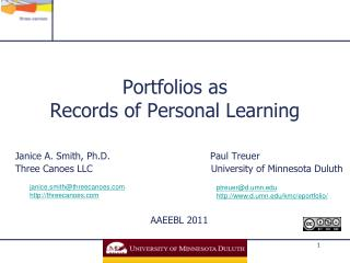 Portfolios as Records of Personal Learning