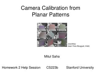 Camera Calibration from Planar Patterns
