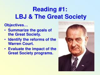 Reading #1:  LBJ & The Great Society
