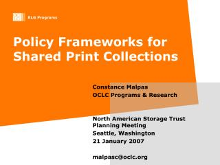 Policy Frameworks for Shared Print Collections