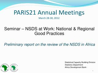 PARIS21 Annual Meetings March 28-30, 2012