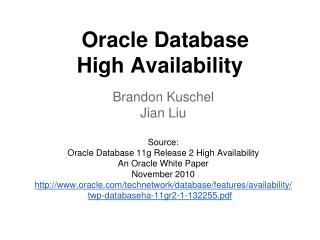 Oracle Database High Availability
