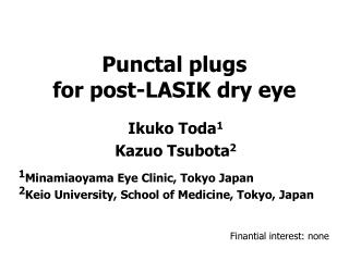 Punctal plugs  for post-LASIK dry eye