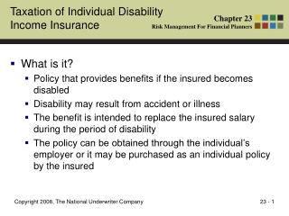 Taxation of Individual Disability  Income Insurance