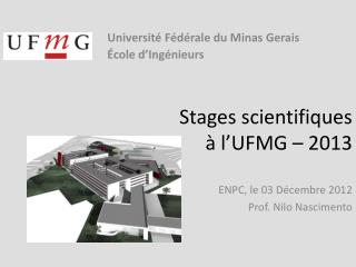 Stages scientifiques à l'UFMG – 2013
