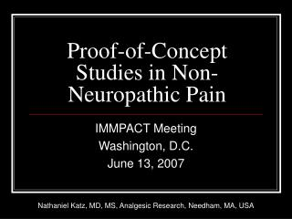 Proof-of-Concept Studies in Non-Neuropathic Pain