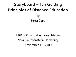 Storyboard – Ten Guiding Principles of Distance Education