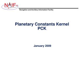 Planetary Constants Kernel PCK
