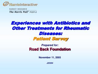 Experiences with Antibiotics and Other Treatments for Rheumatic Diseases:  Patient Survey