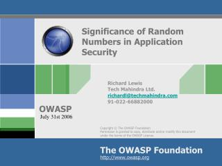 Significance of Random Numbers in Application Security