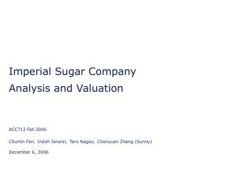 Imperial Sugar Company Analysis and Valuation