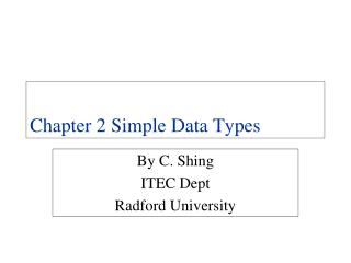 Chapter 2 Simple Data Types