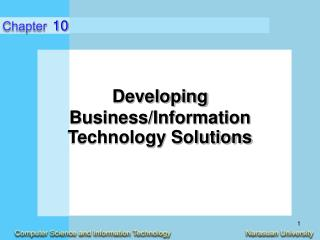 Developing  Business/Information Technology Solutions