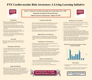 FYE Cardiovascular Risk Awareness: A Living Learning Initiative