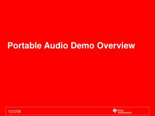 Portable Audio Demo Overview