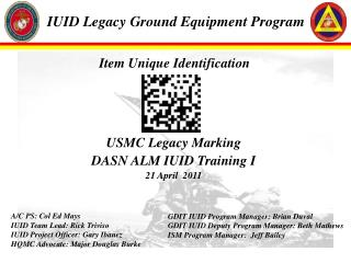 IUID Legacy Ground Equipment Program