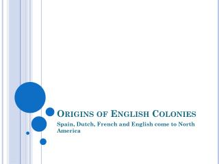 Origins of English Colonies