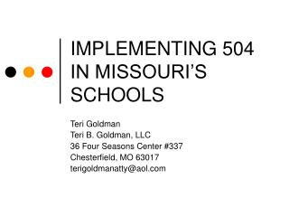 IMPLEMENTING 504 IN MISSOURI'S SCHOOLS