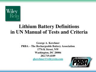 Lithium Battery Definitions in UN Manual of Tests and Criteria