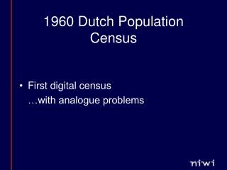 1960 Dutch Population Census