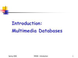 Introduction: Multimedia Databases