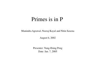 Primes is in P