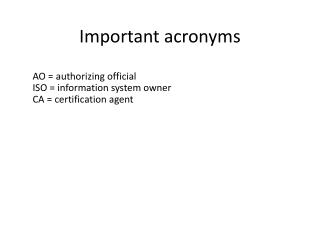 Important acronyms
