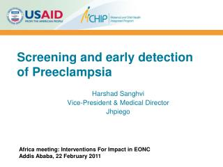 Screening and early detection of Preeclampsia