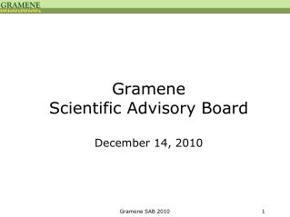 Gramene  Scientific Advisory Board December 14, 2010