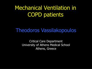 Mechanical Ventilation in COPD patients