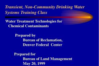 Transient, Non-Community Drinking Water Systems Training Class
