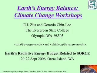 Earth's Energy Balance:   Climate Change Workshops