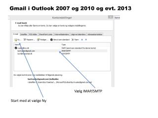 Gmail i Outlook 2007 og 2010 og evt. 2013