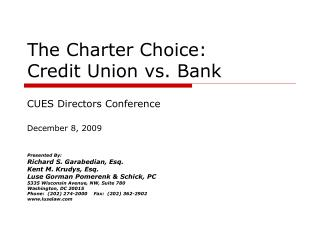 The Charter Choice: Credit Union vs. Bank