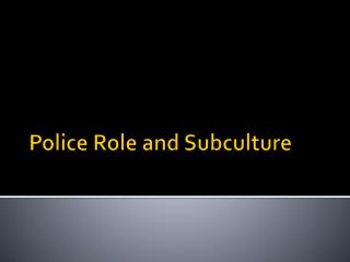 Police Role and Subculture