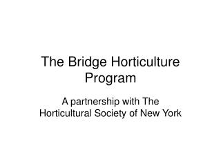 The Bridge Horticulture Program