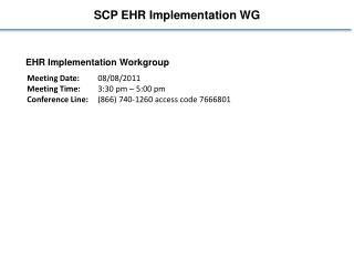 SCP EHR Implementation WG