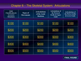 Chapter 8 – The Skeletal System:  Articulations