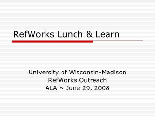 RefWorks Lunch & Learn